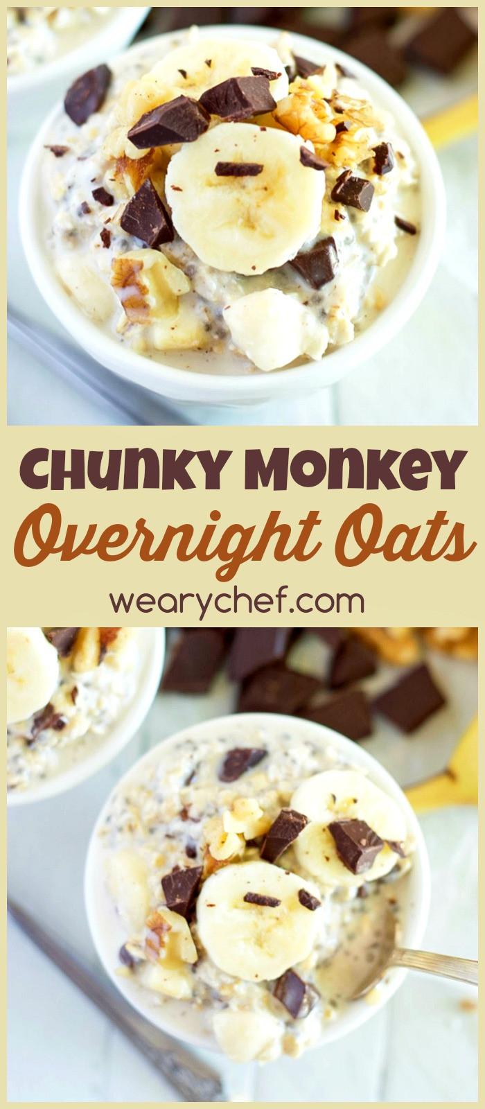 Oatmeal Recipe For Breakfast  Chunky Monkey Overnight Oats Recipe The Weary Chef