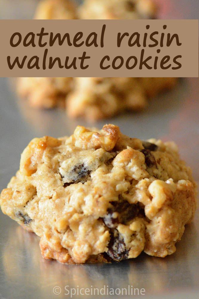 Oatmeal Walnut Cookies  oatmeal craisin walnut cookies