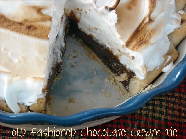"""Old Fashioned Chocolate Pie  Old Fashioned Chocolate Pie with Meringue Topping """"My"""
