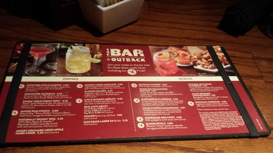Outback Desserts Menu  The smaller portion menu you will find at the bar