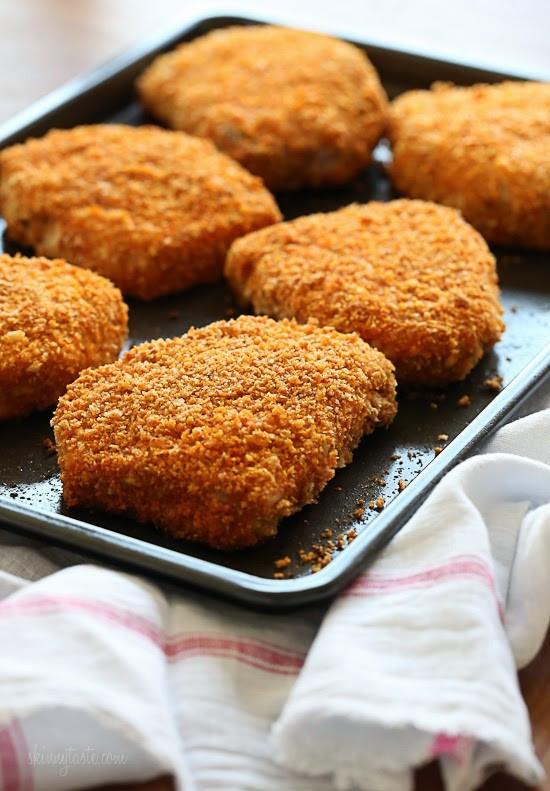 """Oven Baked Breaded Pork Chops  Oven """"Fried"""" Breaded Pork Chops"""