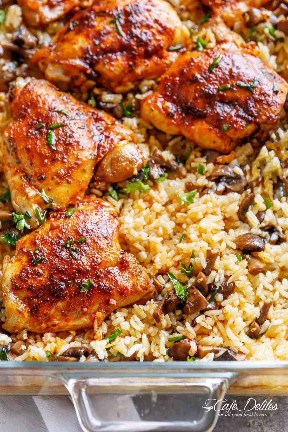 Oven Baked Chicken Recipes  Oven Baked Chicken And Rice Cafe Delites