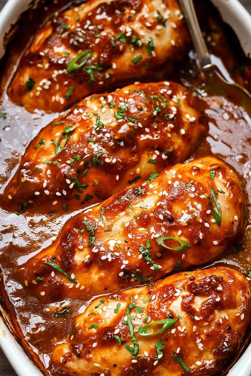 Oven Baked Chicken Recipes  Baked Chicken Breasts with Sticky Honey Sriracha Sauce