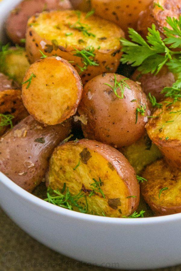 Oven Roasted Baby Potatoes  Easy Oven roasted baby red potatoes Natasha s Kitchen