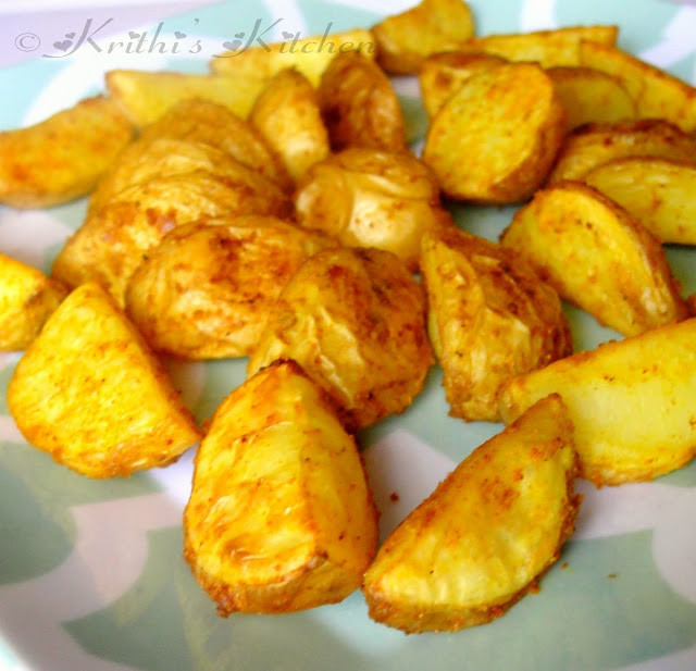 Oven Roasted Baby Potatoes  Krithi s Kitchen Indian style Oven Roasted Baby