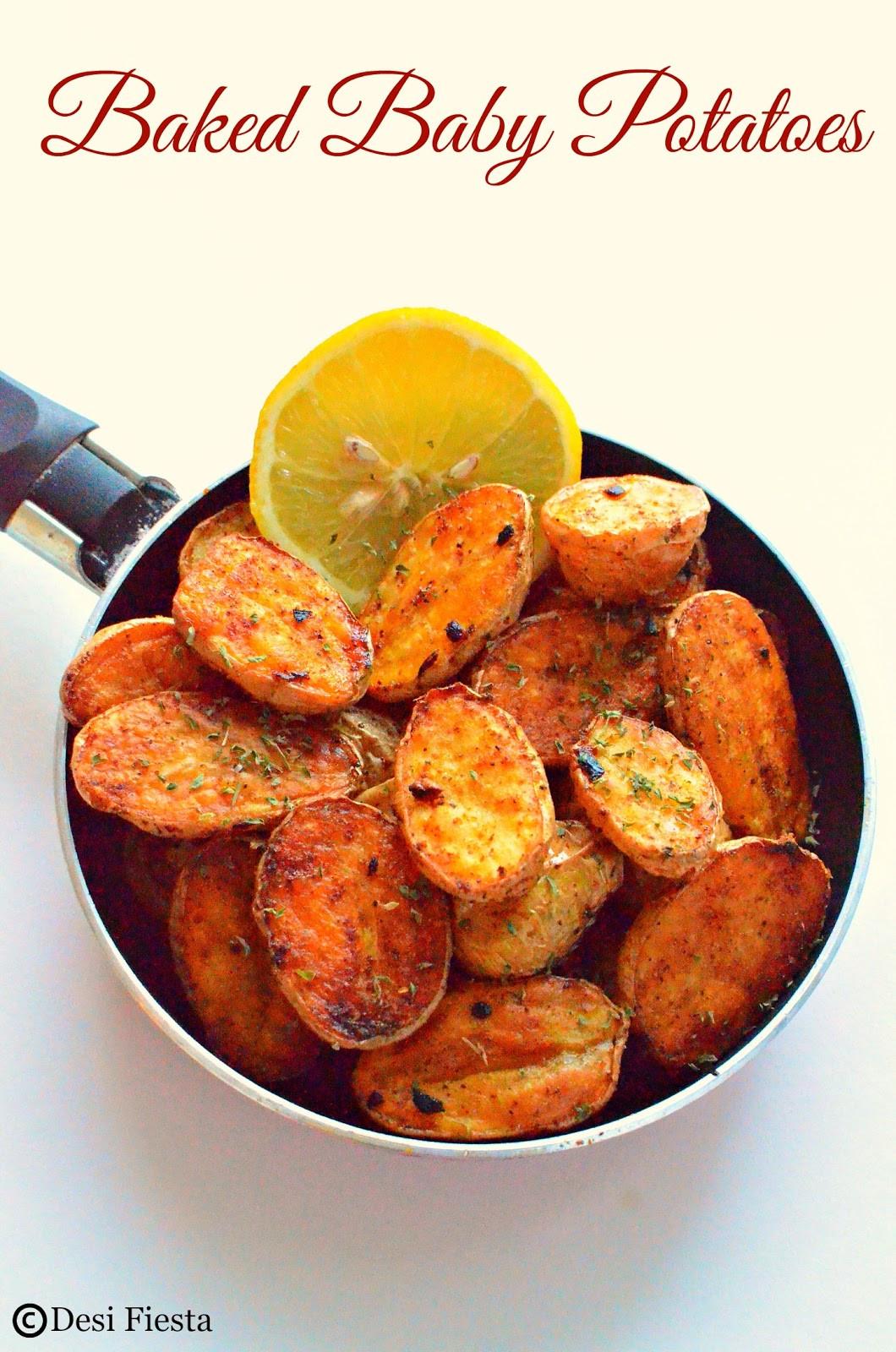 Oven Roasted Baby Potatoes  Desi Fiesta Baked Baby Potatoes Recipe