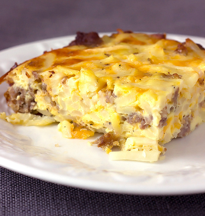 Overnight Breakfast Casserole With Hash Browns And Sausage And Eggs  overnight hash brown sausage breakfast casserole