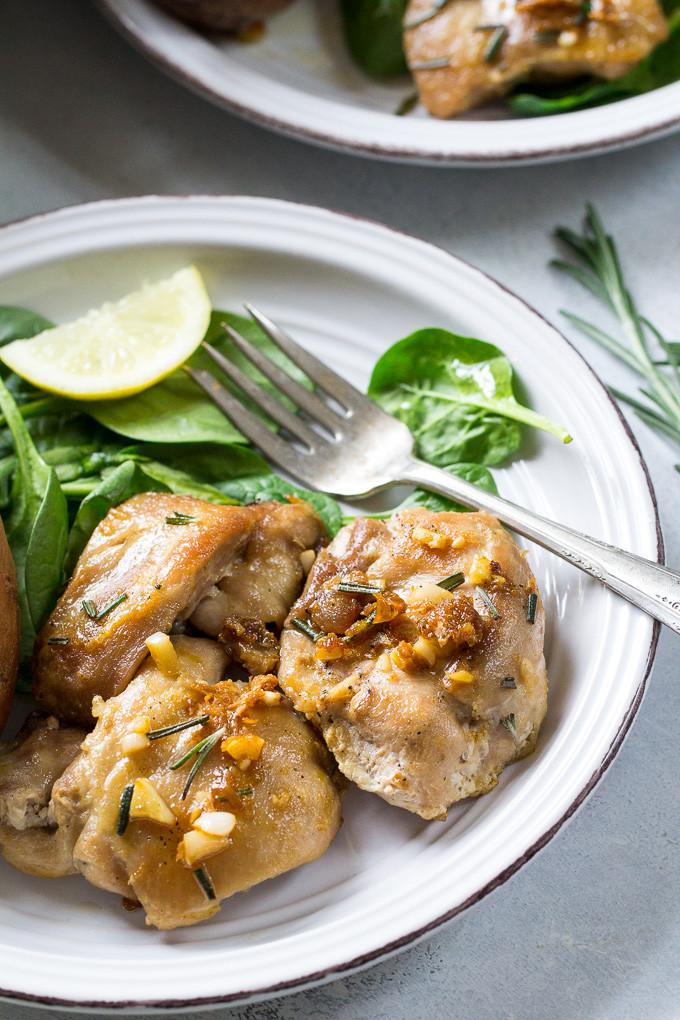 Paleo Chicken Thighs  Easy Lemon Garlic Chicken Thighs Paleo & Whole30