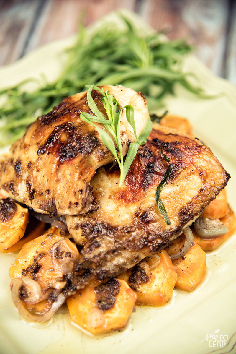 Paleo Chicken Thighs  Roasted Chicken Thighs with Sweet Potatoes