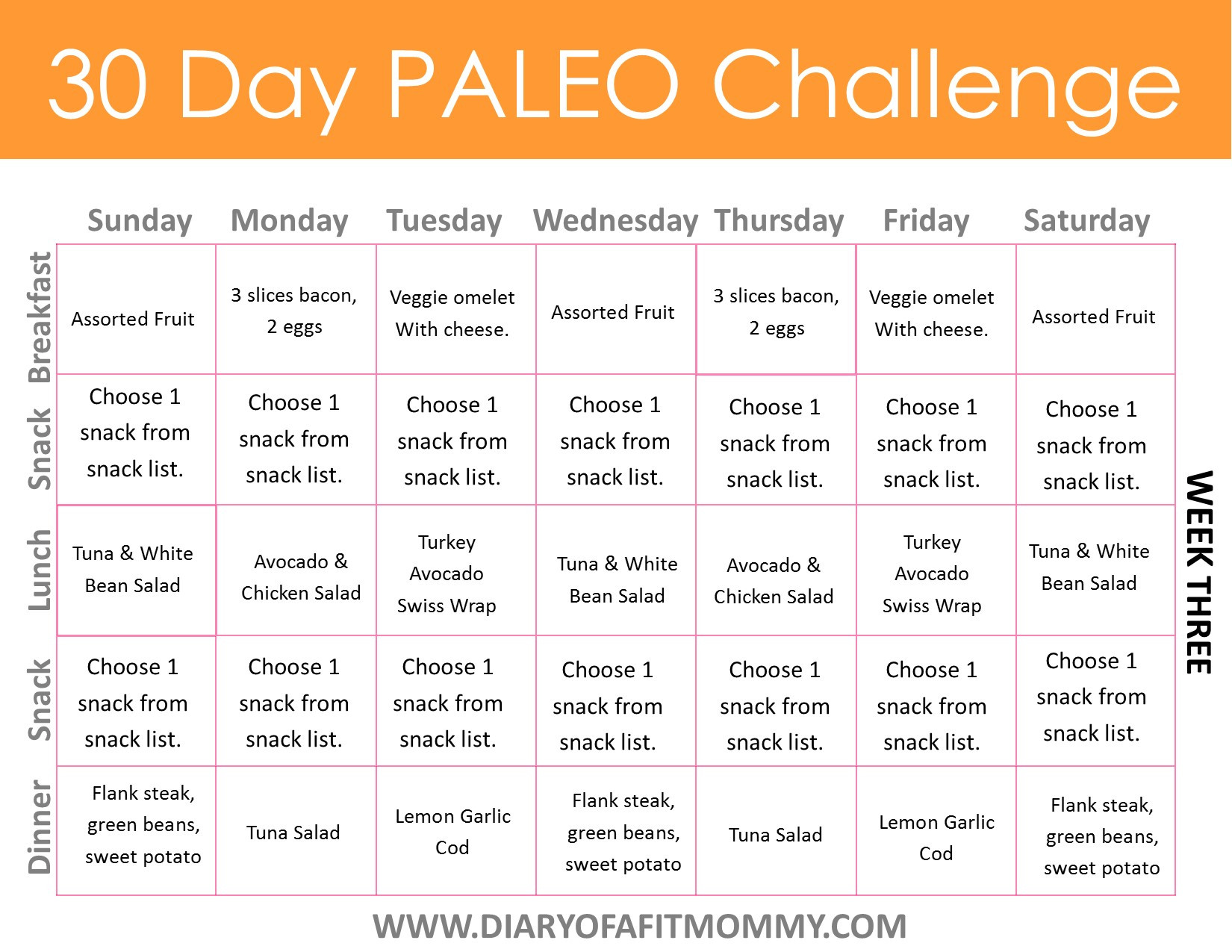 Paleo Diet Meal Plans  Diary of a Fit Mommy30 Day Paleo Challenge Diary of a
