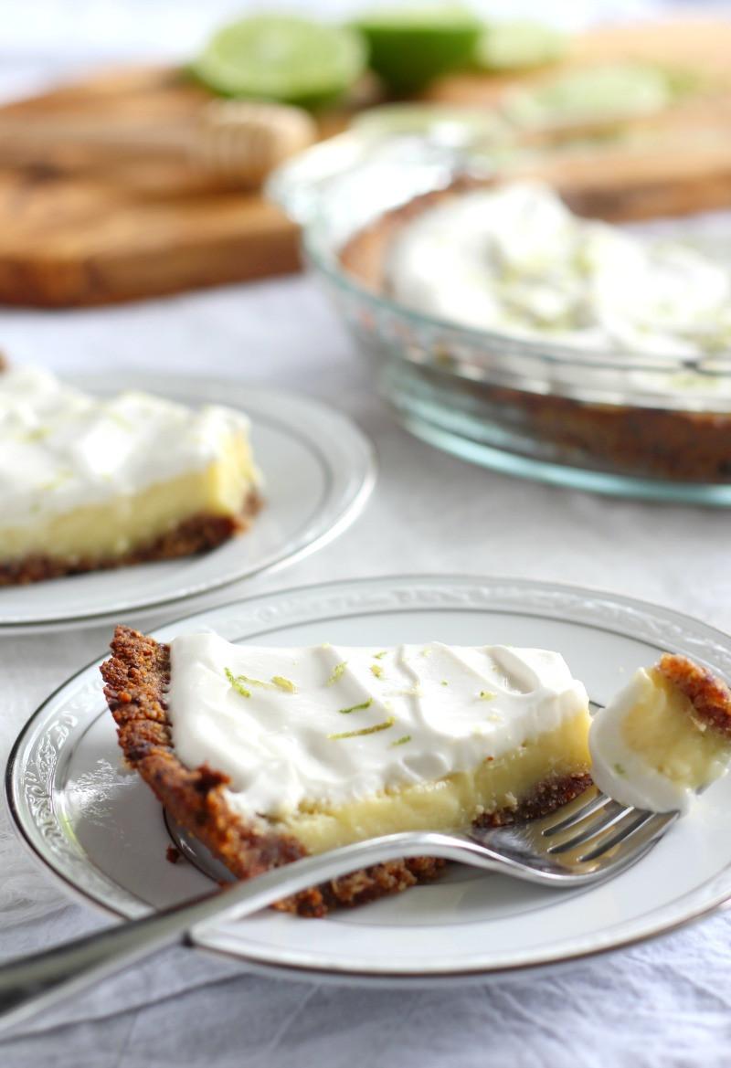 Paleo Key Lime Pie  Paleo Key Lime Pie with Coconut Pecan Crust