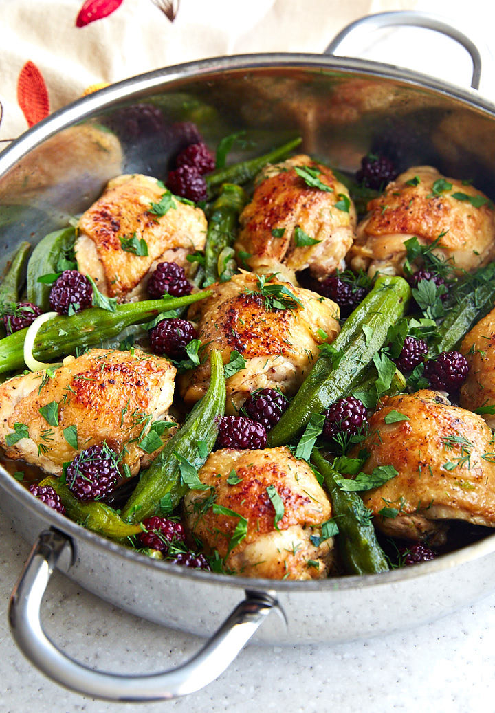Pan Fried Chicken Thighs  Pan Fried Chicken Thighs with Okra and Blackberries i
