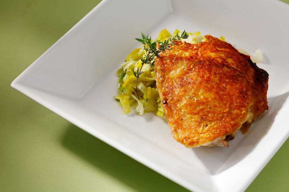 Pan Fried Chicken Thighs  Recipe Pan Fried Chicken Thighs With Buttered Leeks