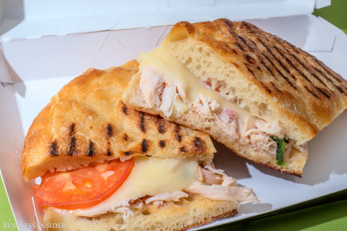 Panera Bread Frontega Chicken Panini On Focaccia  Panera Bread versus Au Bon Pain Business Insider