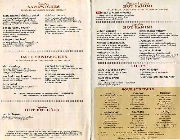 Panera Bread Menu Breakfast  panera menu