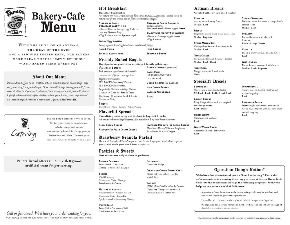 Panera Bread Menu Breakfast  Panera Catering Menu With Prices