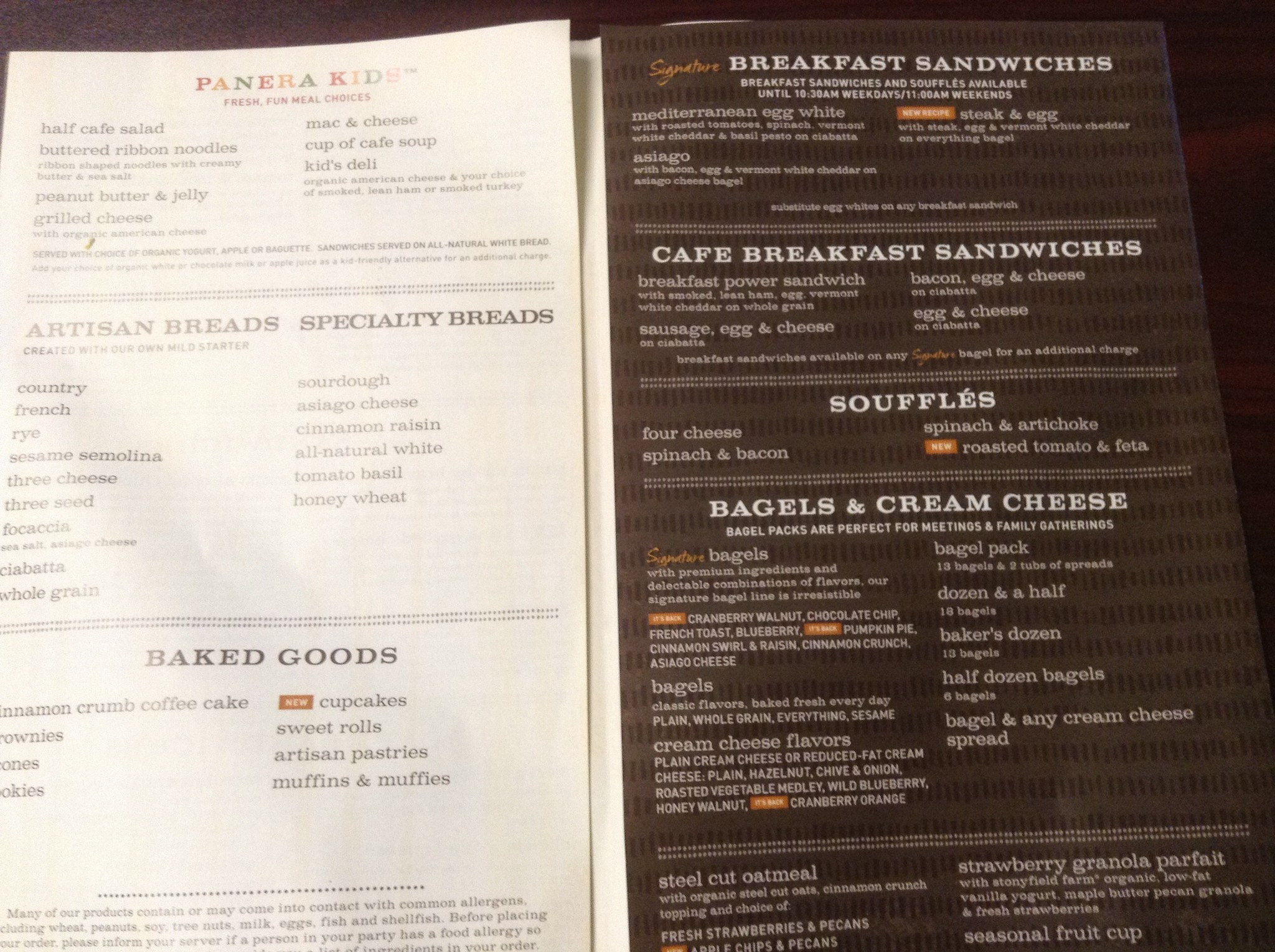 Panera Bread Menu Breakfast  Panera Bread Menu Menu for Panera Bread Plymouth Twin