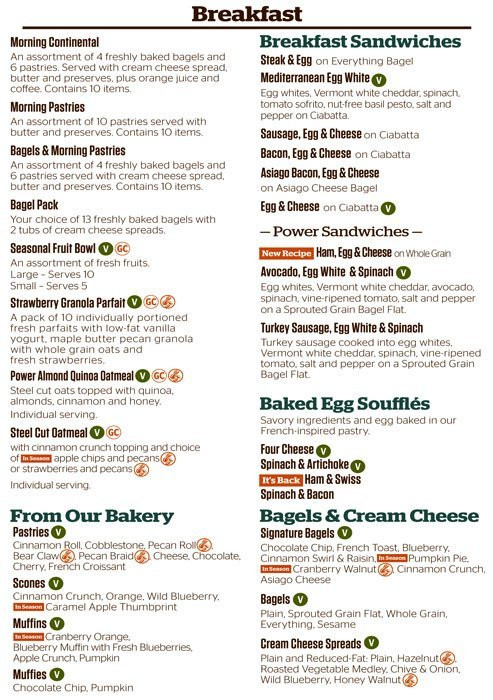 Panera Bread Menu Breakfast  panera bread menu