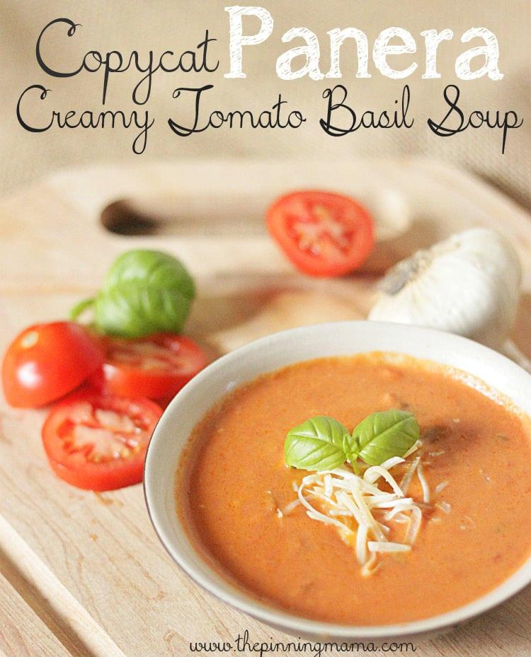 Panera Tomato Soup  Copycat Panera Creamy Tomato Basil Soup Recipe
