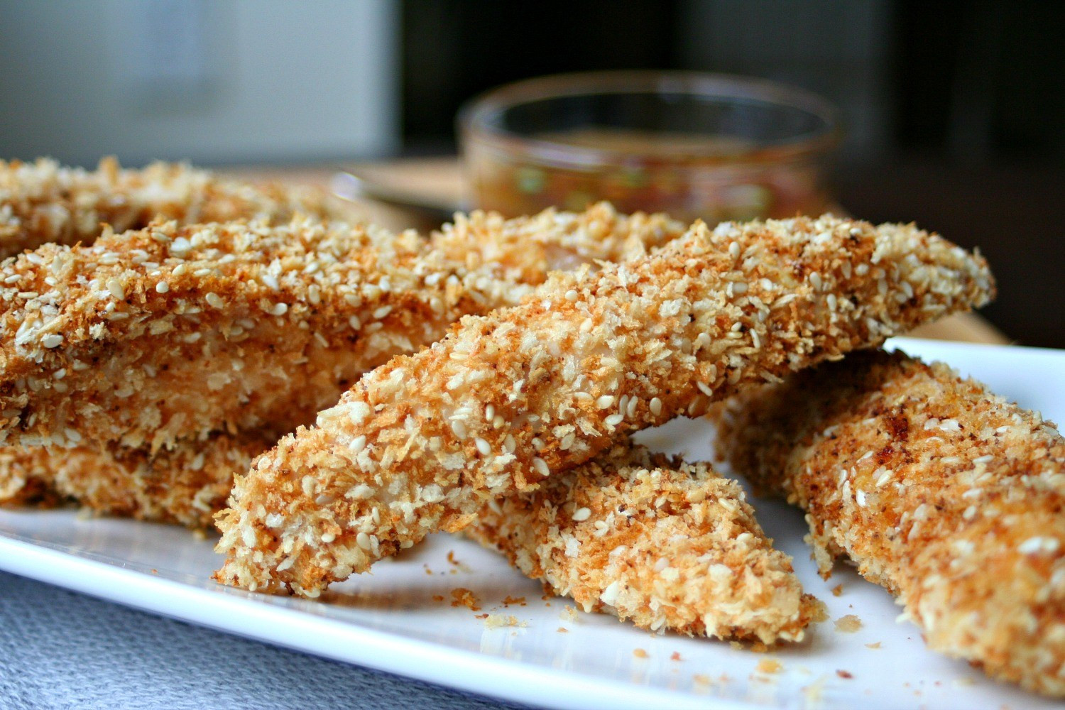 Panko Baked Chicken  Baked Chicken Fingers Crusted with Panko and Sesame Seeds