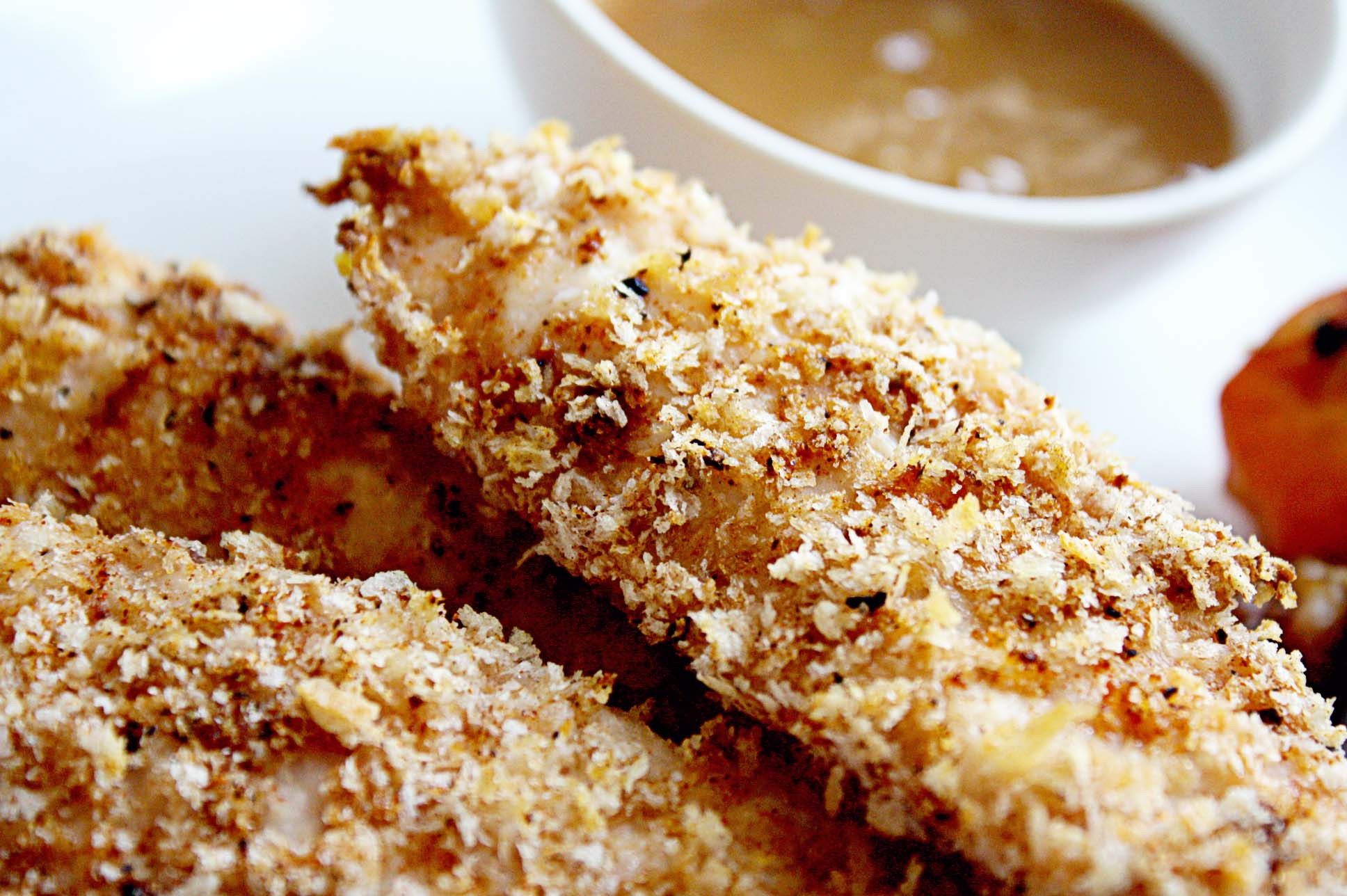Panko Baked Chicken  Baked Panko Crusted Chicken Strips with Apricot Dijon