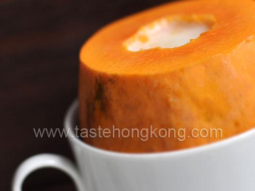 Papaya Dessert Recipe  Steamed Papaya with Chinese South Almond Milk