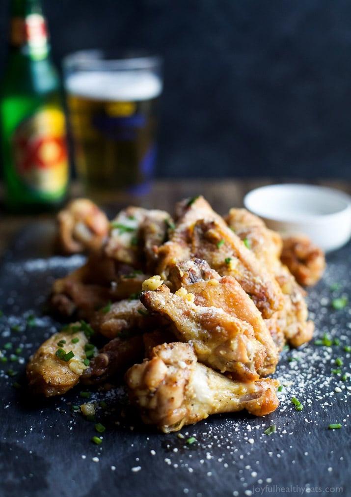 Parmesan Chicken Wings  Crispy Baked Garlic Parmesan Chicken Wings