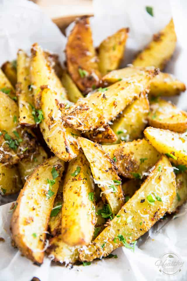 Parmesan Potato Wedges  Oven Baked Garlic Parmesan Potato Wedges • The Healthy Foo