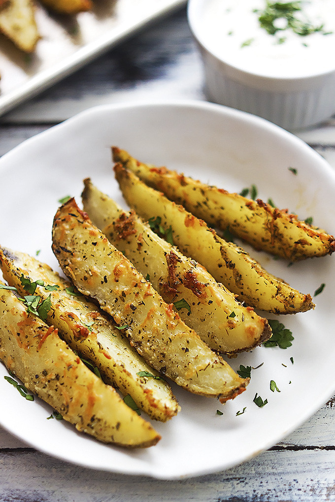 Parmesan Potato Wedges  Baked Garlic Parmesan Potato Wedges