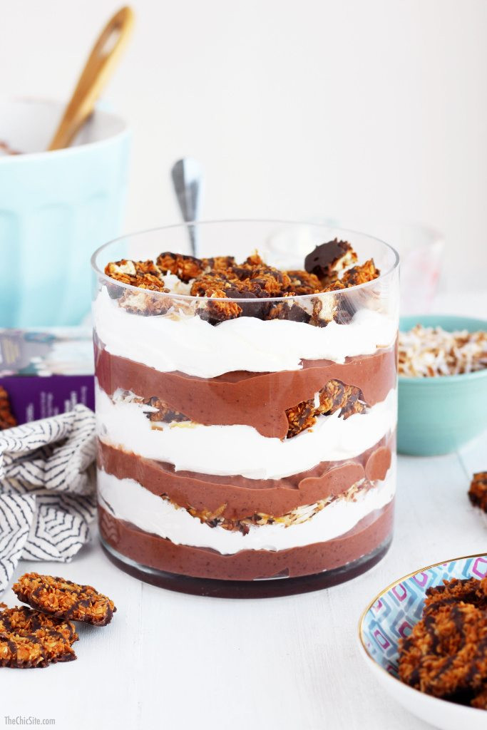 Party Desserts For A Crowd  Samoas Pudding Trifle The Chic Site