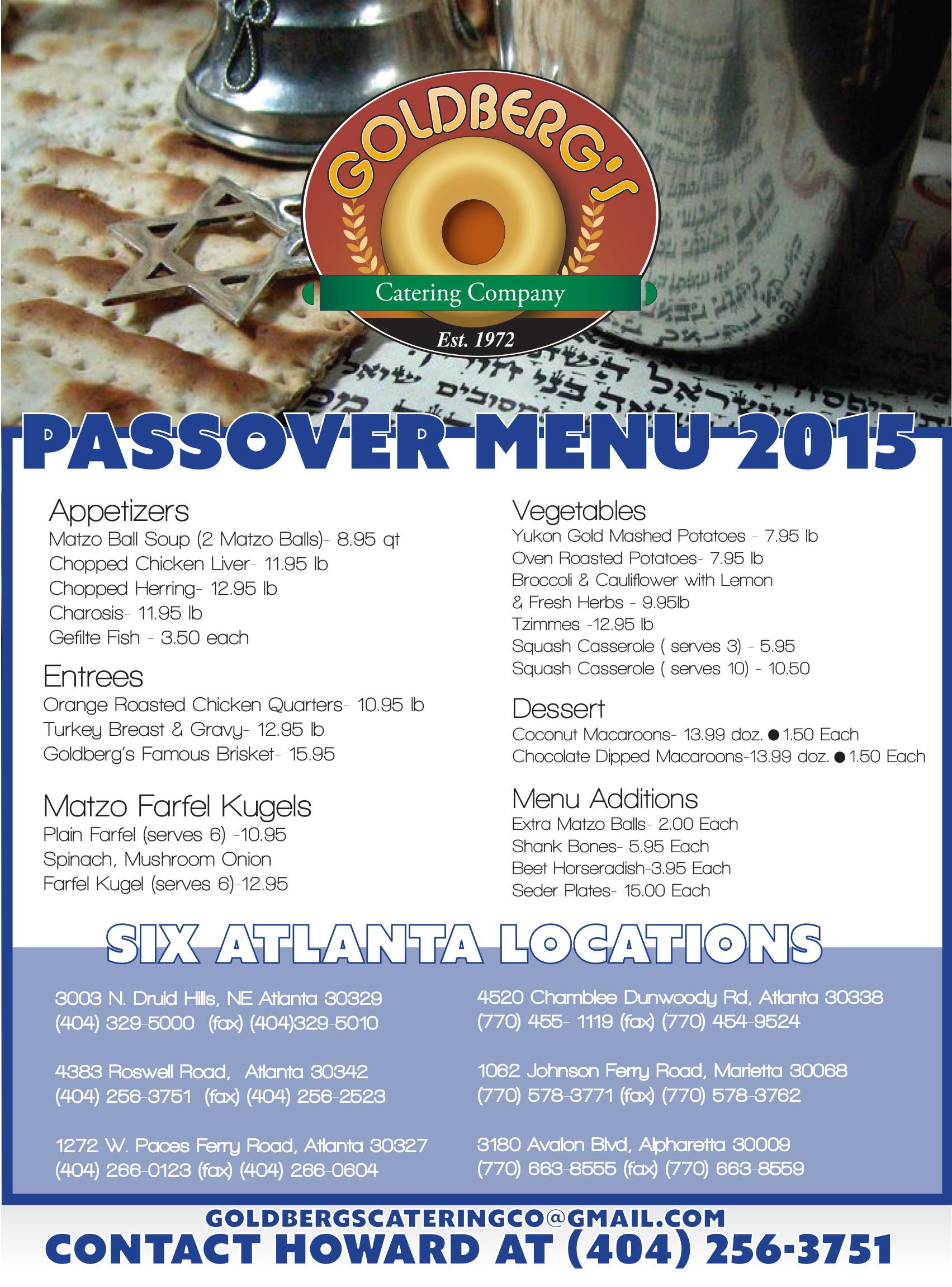 Passover Dinner Menus  Goldbergs Passover Menu