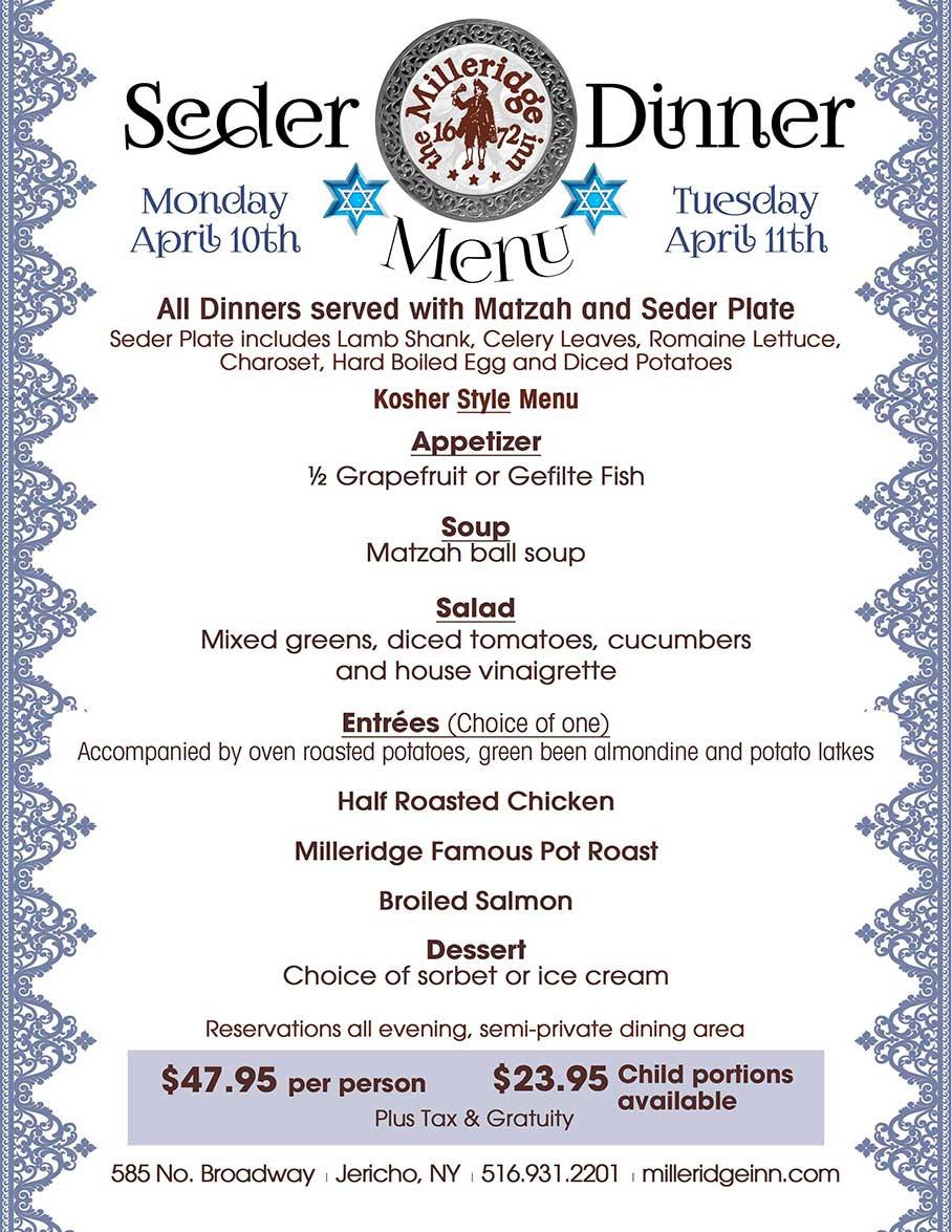 Passover Dinner Menus  Long Island Weddings Anniversaries Baptisms munions