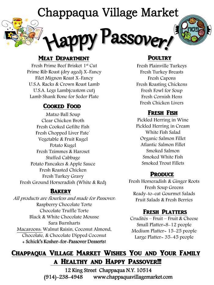 Passover Dinner Menus  Passover Menu Chappaqua Village Market