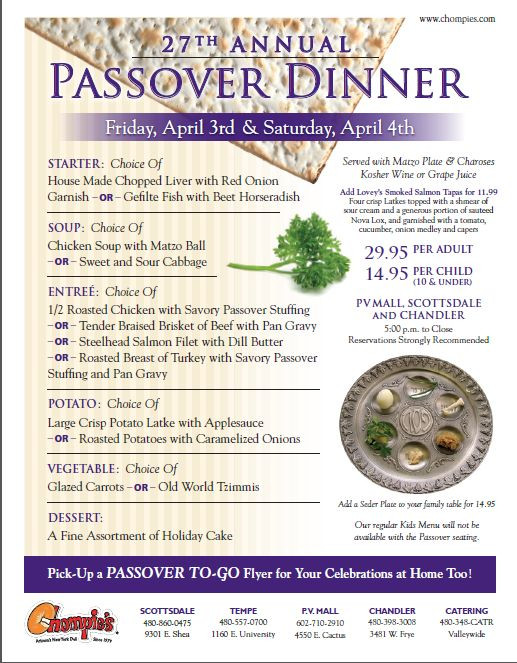 Passover Dinner Menus  Passover is the oldest continuously celebrated Jewish