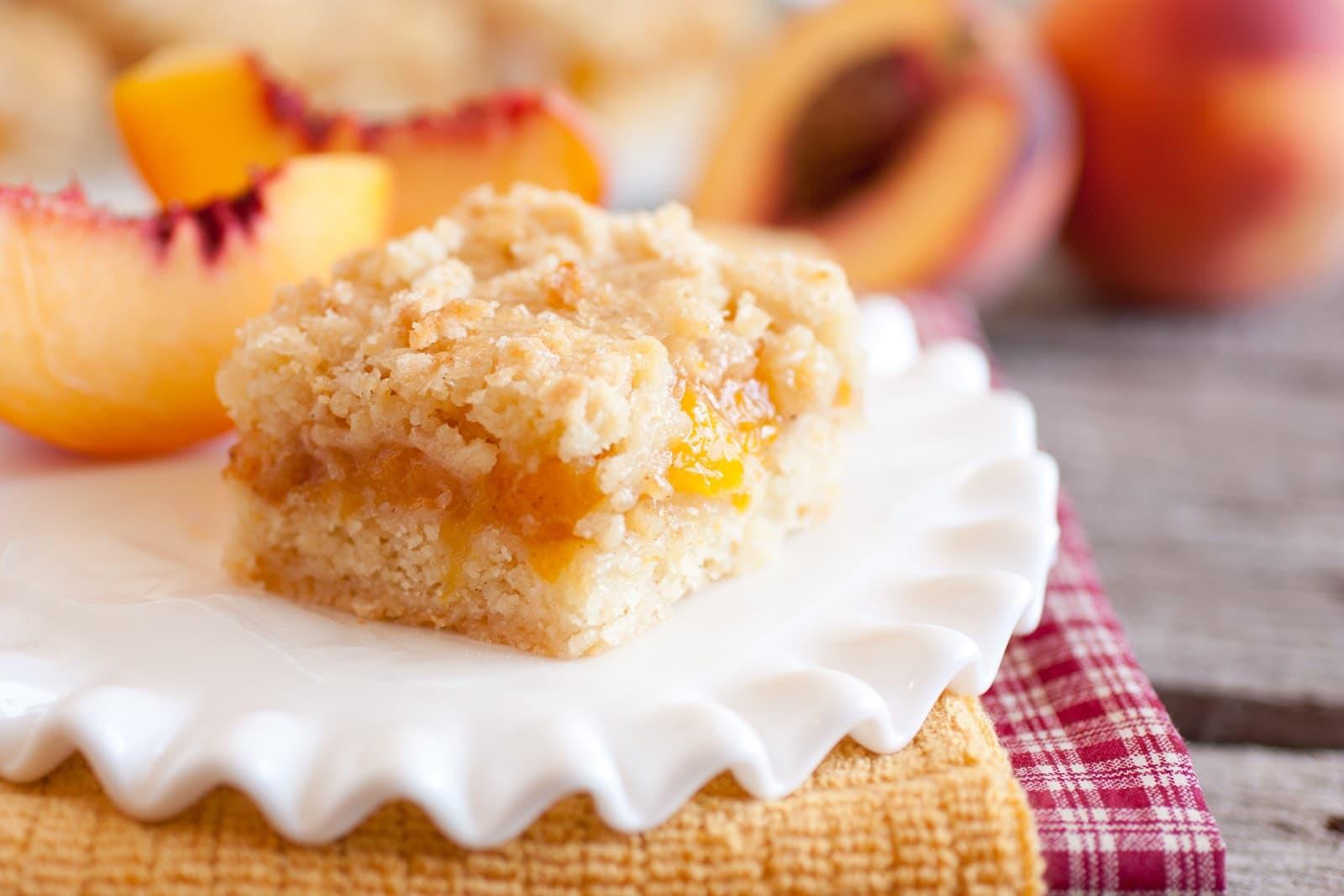 Peach Desserts Recipes  Peach Crumb Bars Cooking Classy