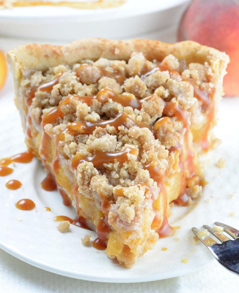 Peach Pie Recipes  Caramel Crumble Peach Pie OMG Chocolate Desserts