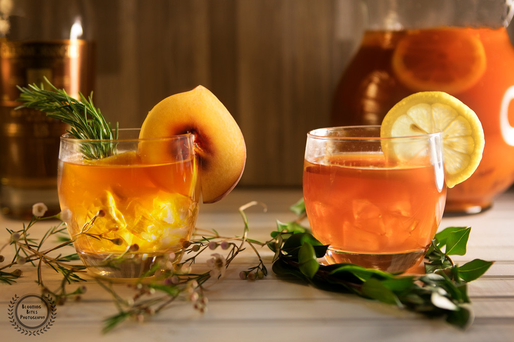 Peach Whiskey Drinks  His and Her Peach Whiskey Drinks Blooming Bites graphy