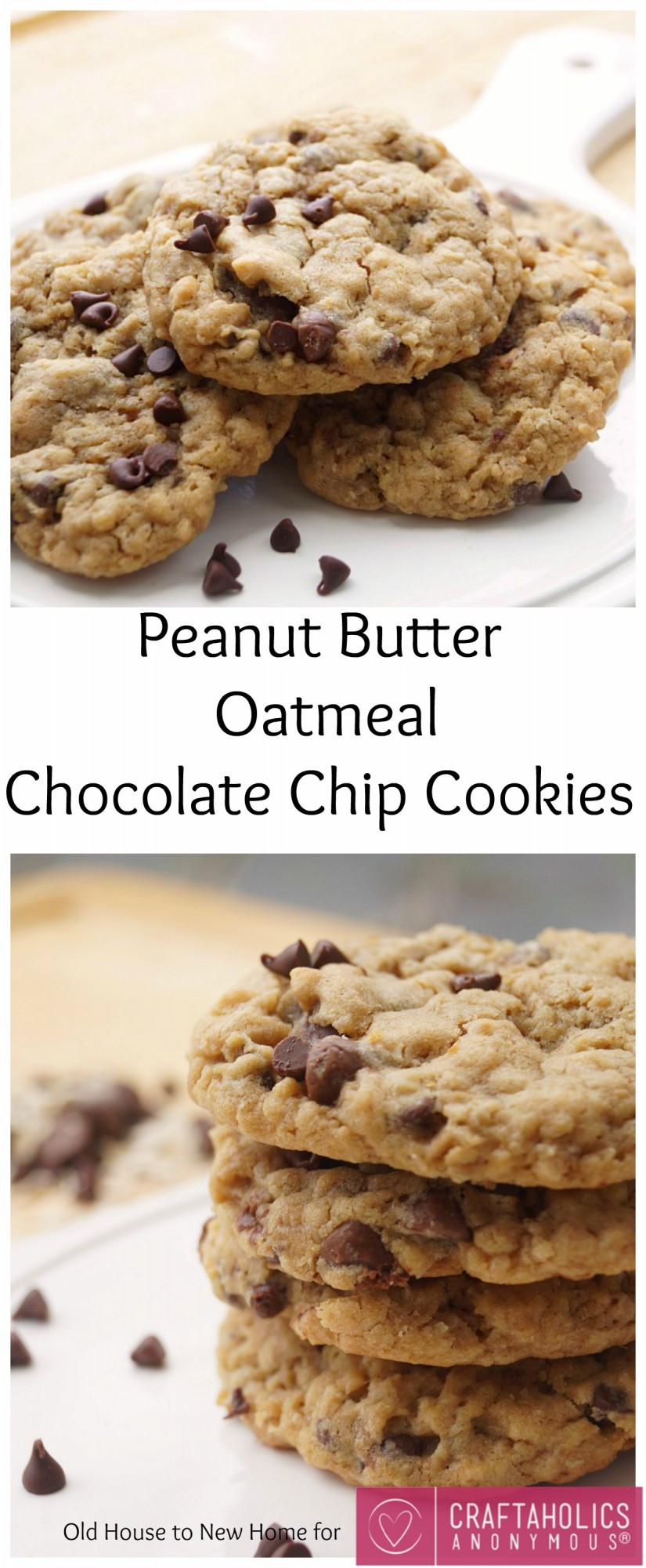 Peanut Butter Chocolate Chip Oatmeal Cookies  Craftaholics Anonymous