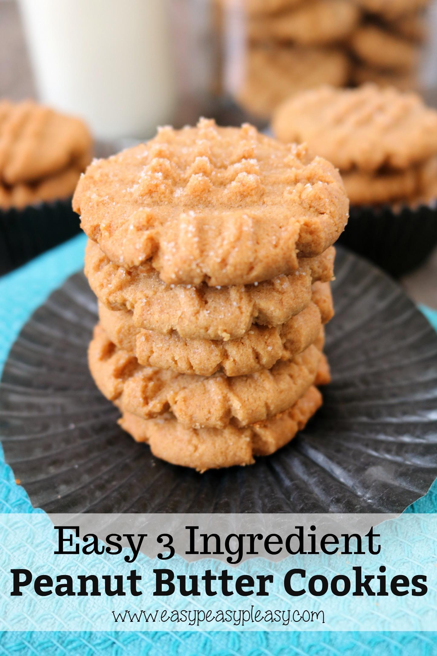 Peanut Butter Cookies Easy  Easy 3 Ingre nt Peanut Butter Cookies Easy Peasy Pleasy