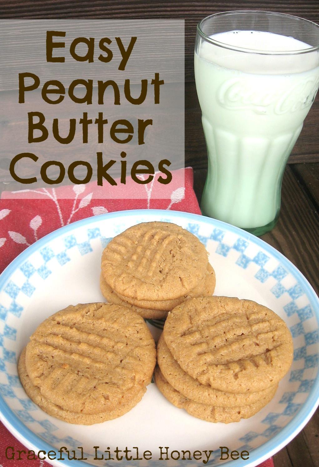 Peanut Butter Cookies Easy  Easy Peanut Butter Cookies Graceful Little Honey Bee