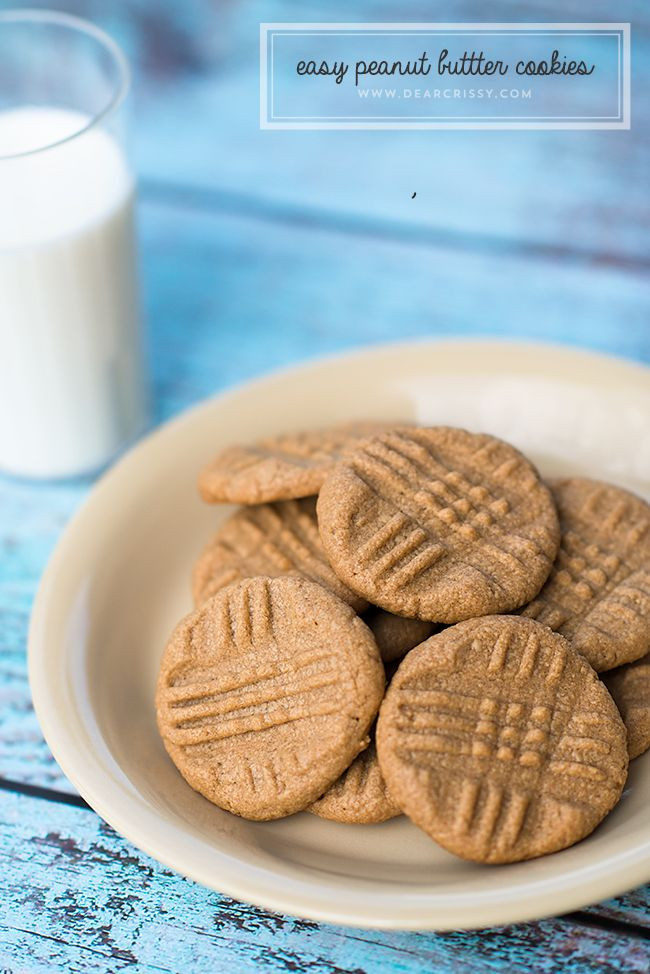 Peanut Butter Cookies Easy  Easy peanut butter cookies Peanut butter cookies and