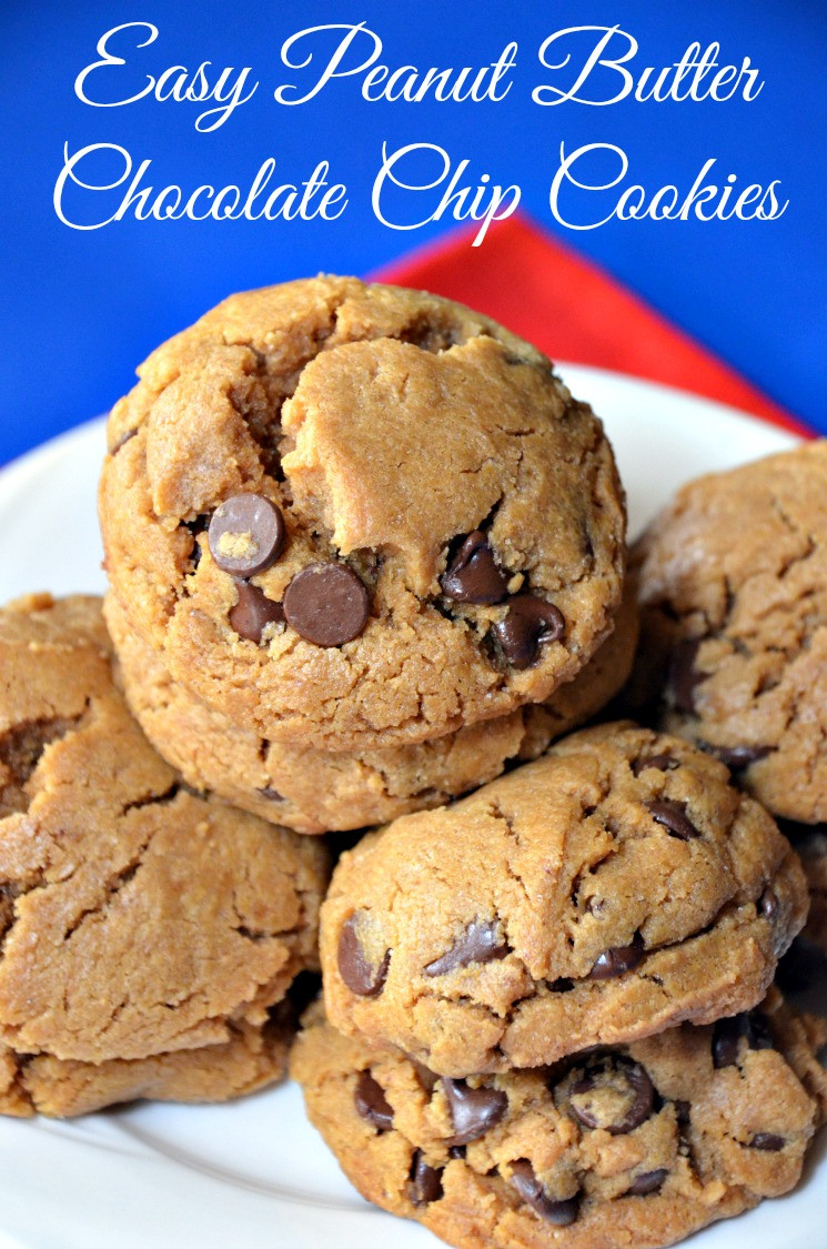 Peanut Butter Cookies Easy  EASIEST PEANUT BUTTER CHOCOLATE CHIP COOKIES