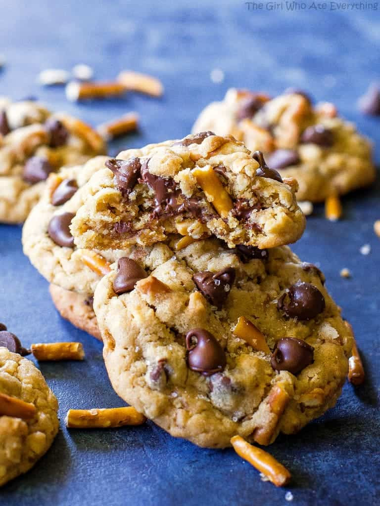 Peanut Butter Cookies With Chocolate Chips  Salted Peanut Butter Pretzel Chocolate Chip Cookies