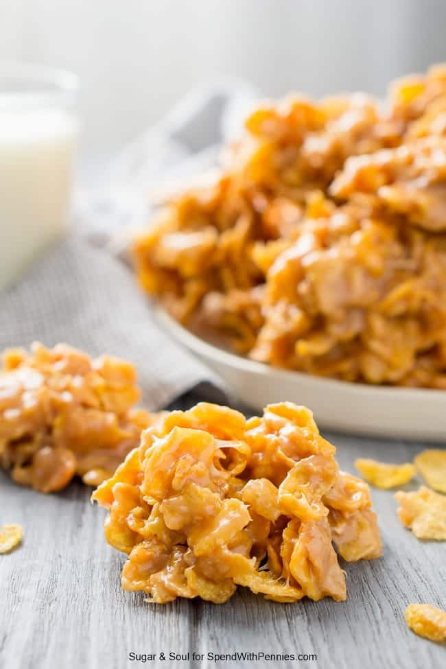 Peanut Butter Cornflake Cookies  Peanut Butter Cornflake Cookies no bake Spend With Pennies