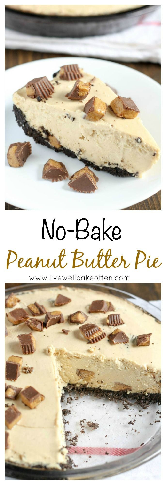 Peanut Butter Pie With Oreo Crust  An easy no bake peanut butter pie with a homemade Oreo