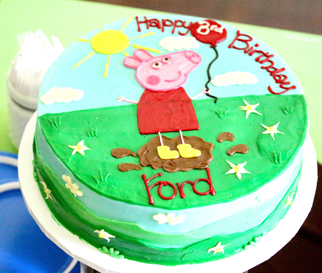 Peppa Pig Birthday Cake  Peppa Pig Party The Chic Site