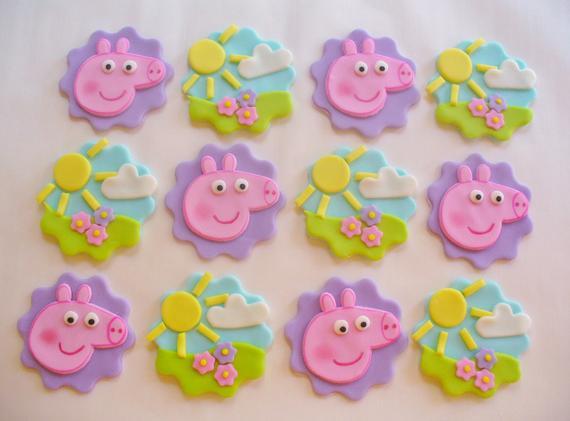 Peppa Pig Cupcakes  12 PEPPA PIG Edible Fondant Cupcake Toppers
