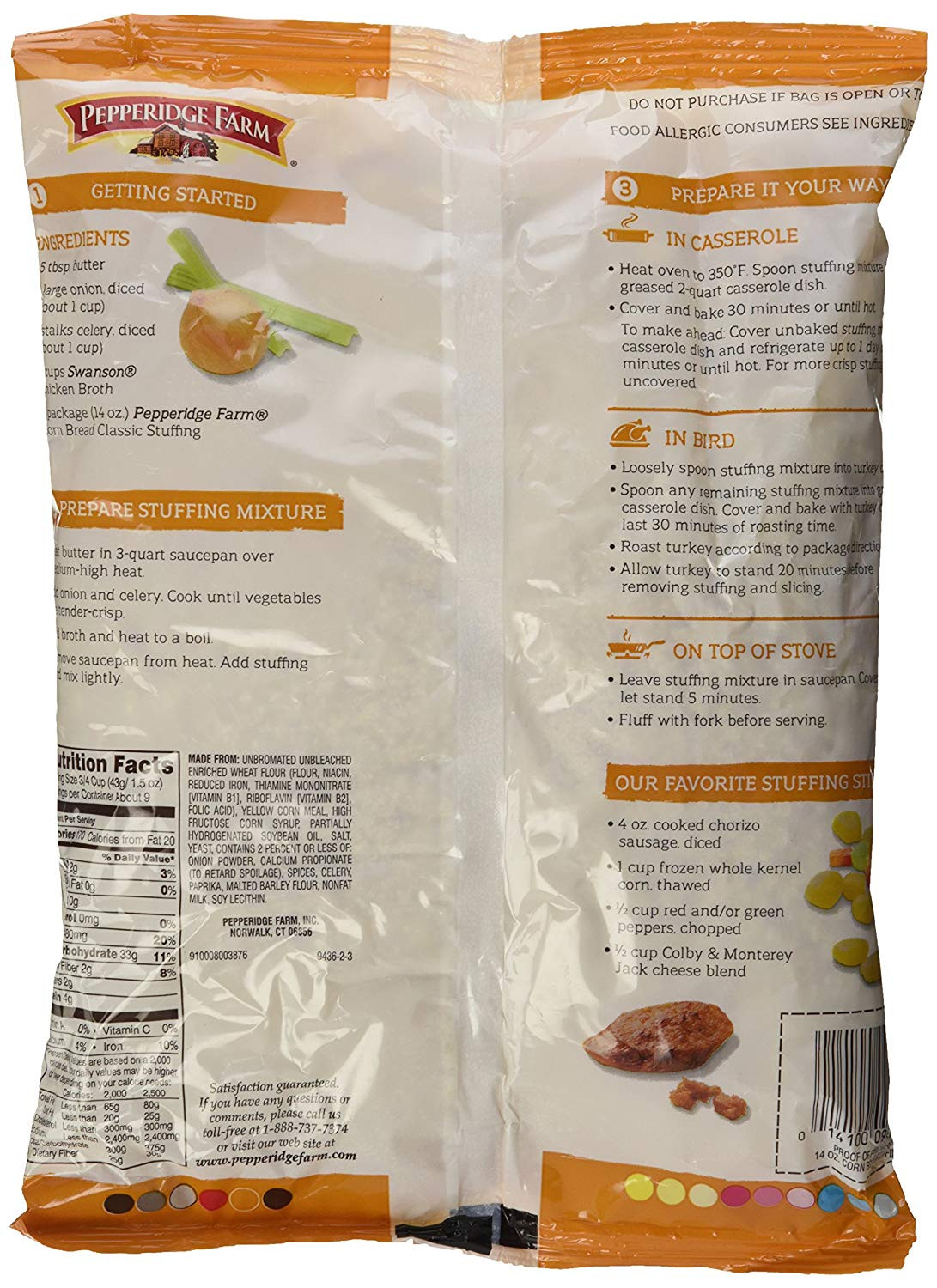 Pepperidge Farm Cornbread Stuffing  pepperidge farm cornbread stuffing instructions