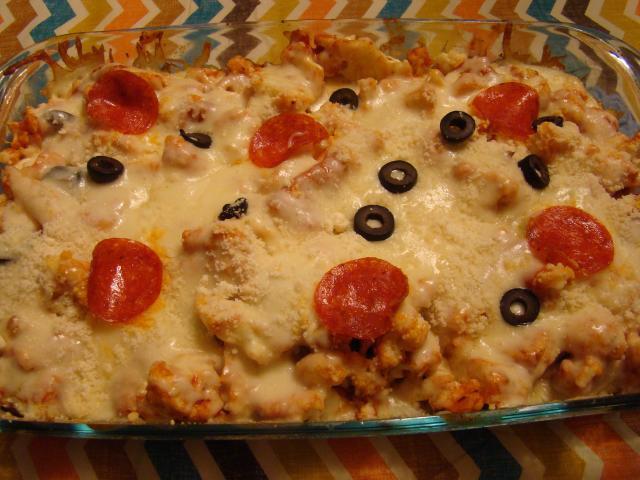 Pepperoni Pizza Casserole  Cauliflower Pepperoni Pizza Casserole