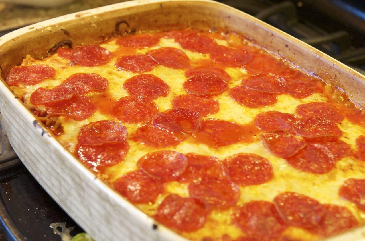 Pepperoni Pizza Casserole  Pepperoni and Sausage Pizza Casserole Beyer Beware